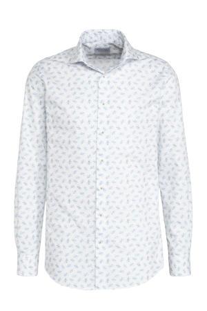 slim fit overhemd met mouwlengte 7 met all over print wit/lichtblauw
