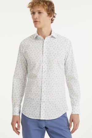 slim fit overhemd met all over print wit/lichtblauw