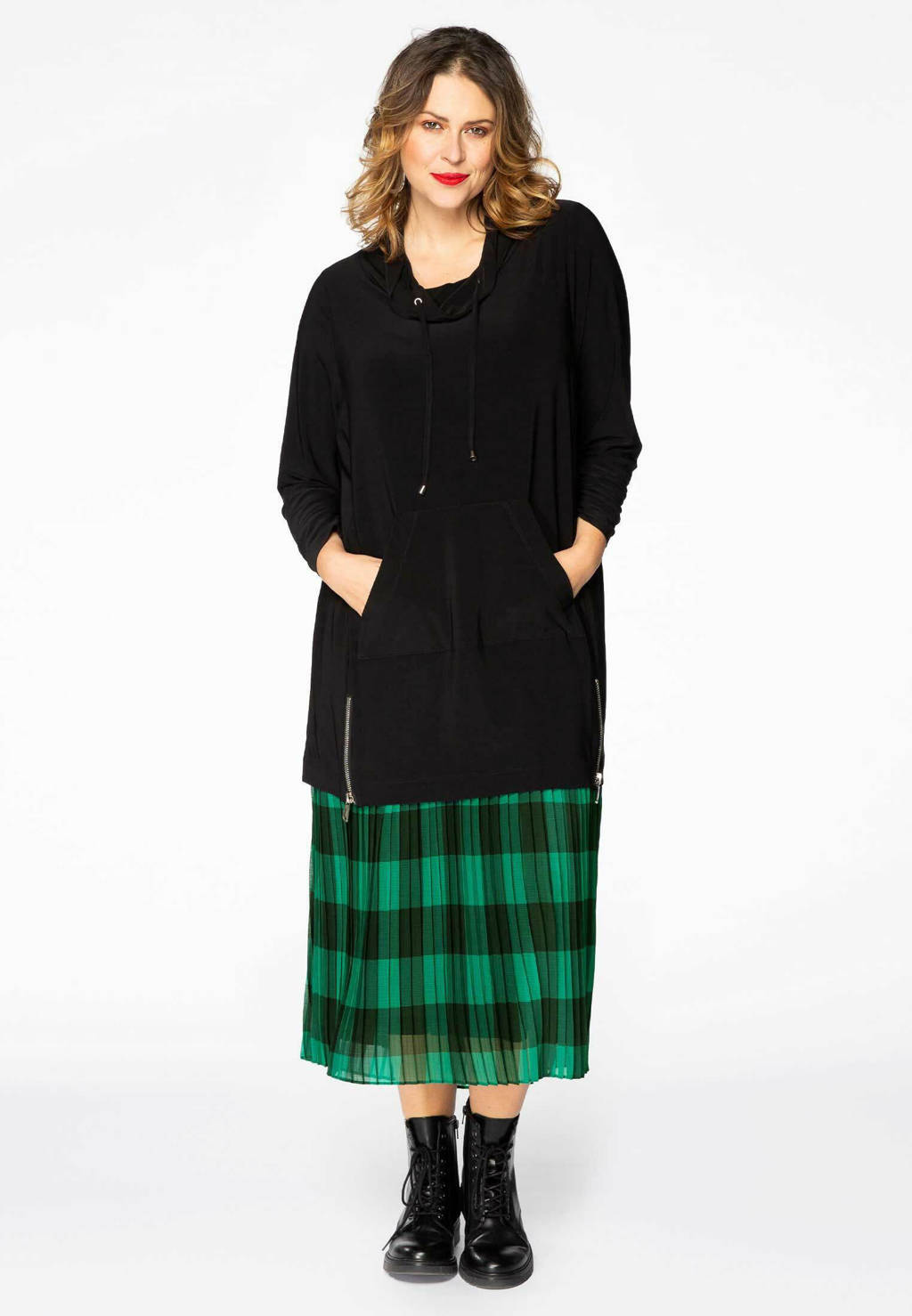 Yoek geruite semi-transparante plissé rok groen/zwart, Groen/zwart