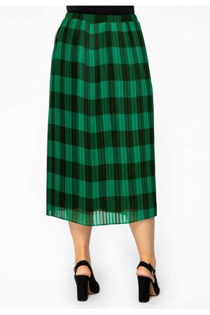 geruite semi-transparante plissé rok groen/zwart