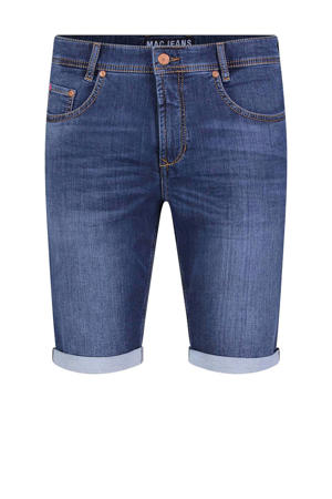 straight fit jeans short blauw