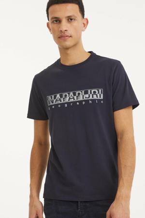 T-shirt Sallar met logo donkerblauw