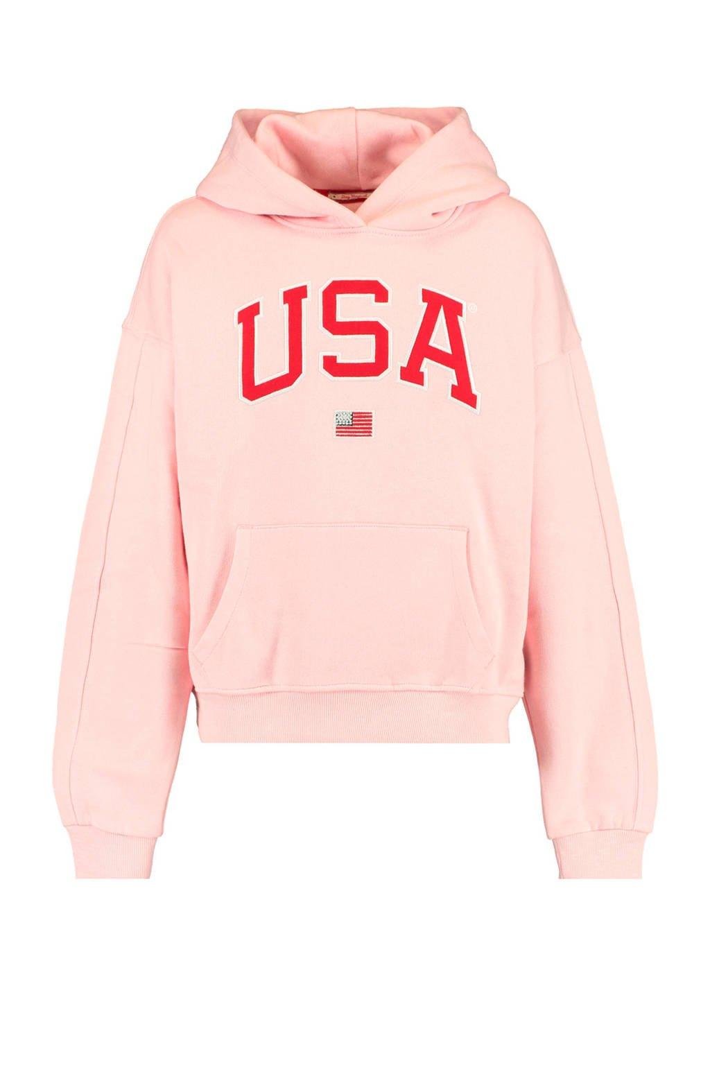 America Today Junior hoodie Sabrina met tekst roze/rood, Roze/rood