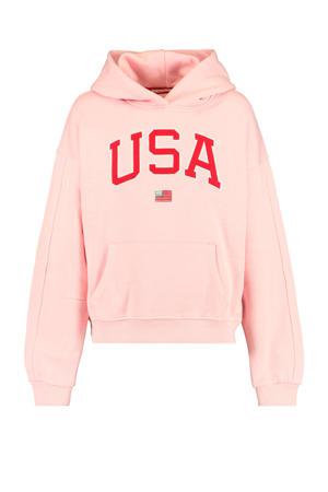 hoodie Sabrina met tekst roze/rood