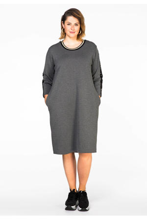 jurk met contrastbies en pailletten grijs melange/zwart/goud