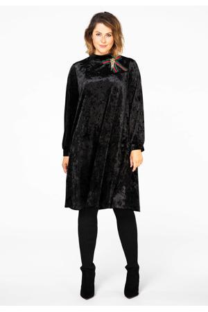 fluwelen A-lijn jurk met strass steentjes zwart/rood/groen