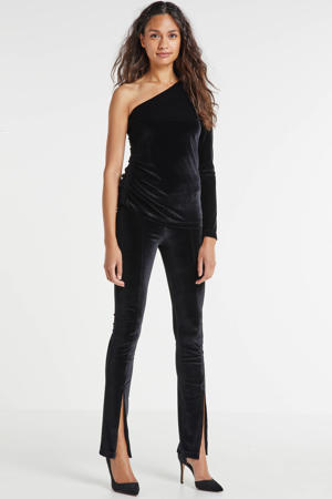 velvet one-shoulder top zwart