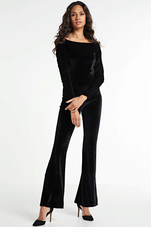 jumpsuit velvet flared fit zwart