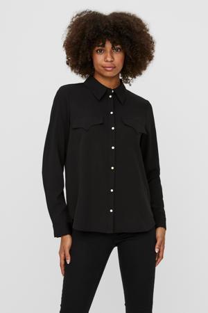blouse VMLOLENA van gerecycled polyester zwart