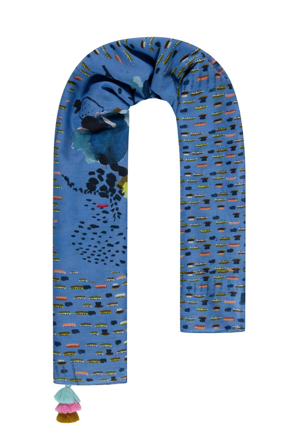 POM Amsterdam sjaal Delicious Mess blauw, Blauw