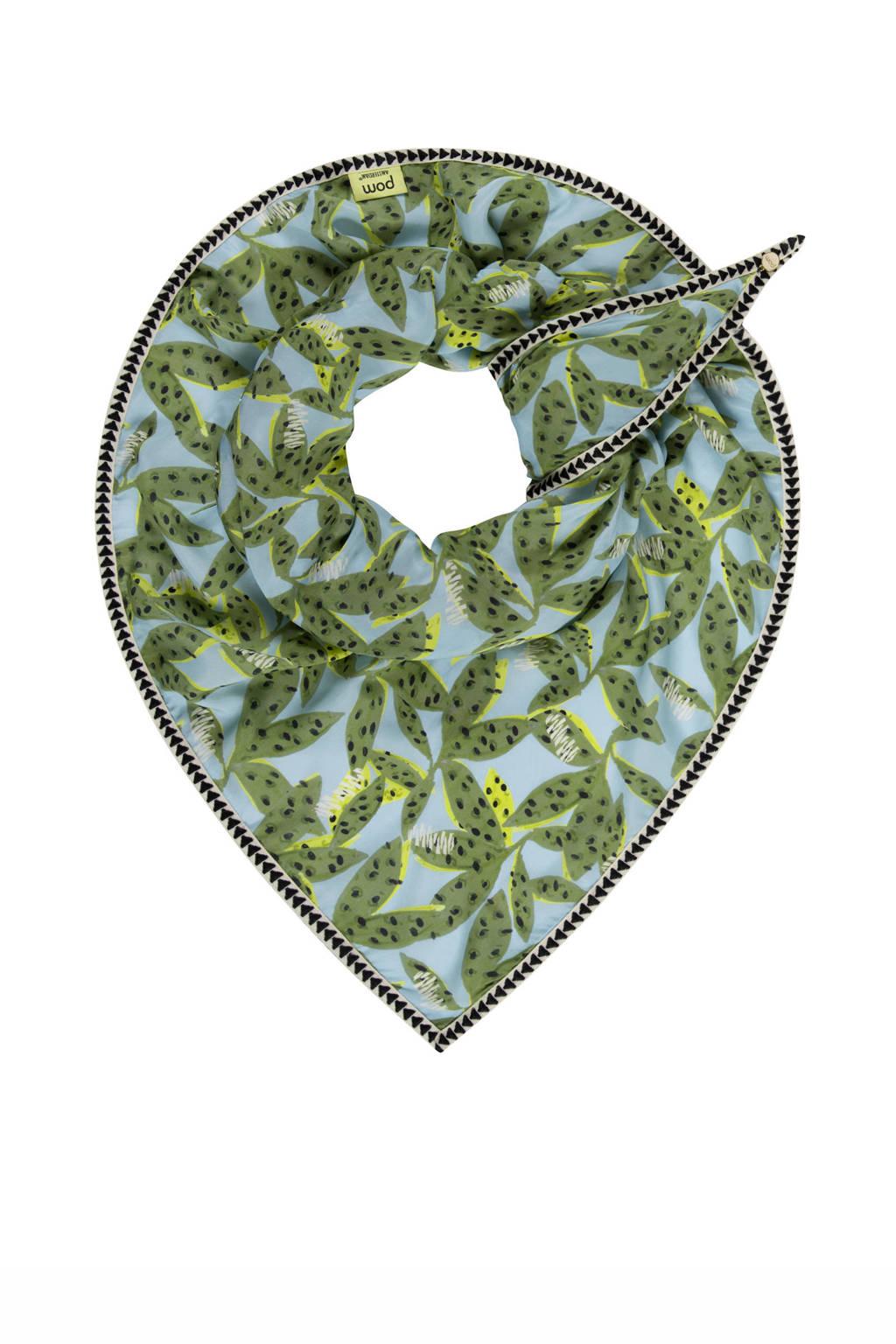 POM Amsterdam sjaal Cheetah Leaves blauw/groen, Blauw/groen