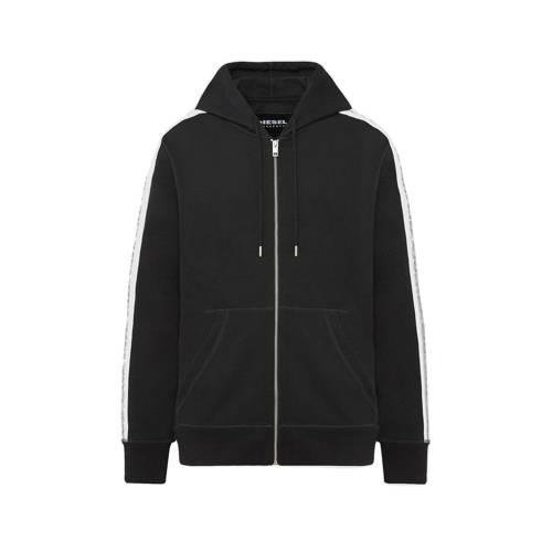 Diesel vest Brandon met contrastbies zwart