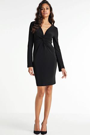 jurk met knoopdetail zwart