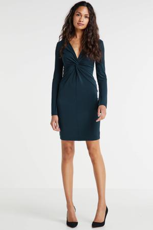 jurk met knoopdetail petrol