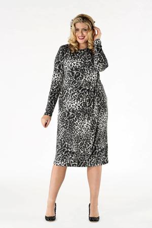 jurk met dierenprint en ceintuur grijs/zwart/wit