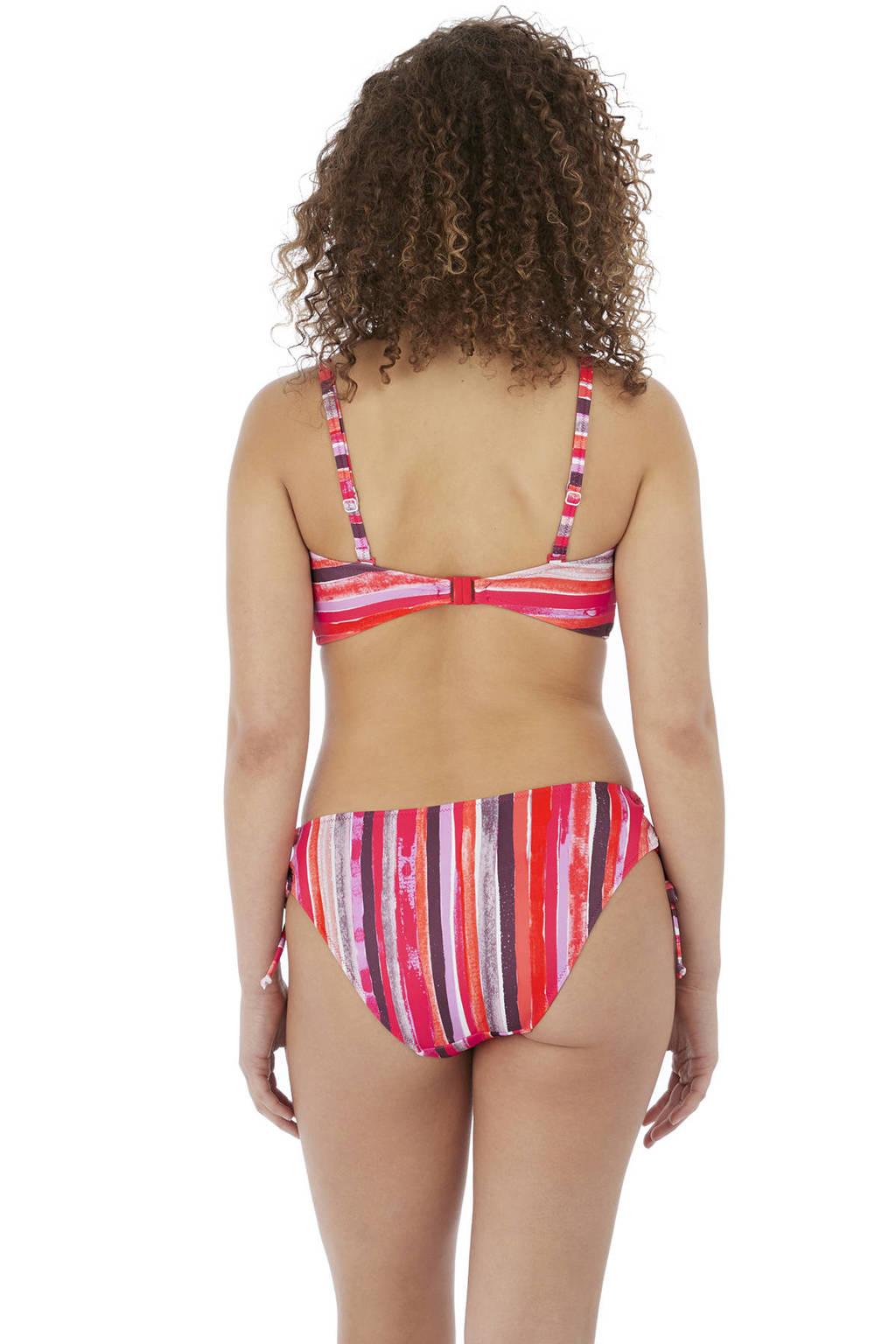 Freya gestreept strik bikinibroekje Bali Bay oranje/roze/bruin