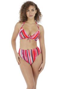 Freya gestreept high waist bikinibroekje Bali Bay oranje/roze/bruin