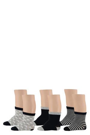 sokken - set van 6 grijs/blauw