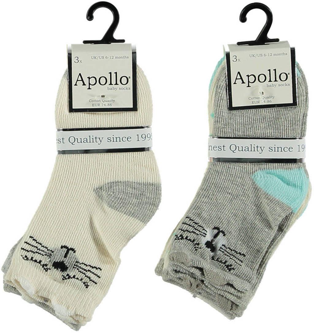 Apollo sokken - set van 6 beige/grijs, Beige/grijs