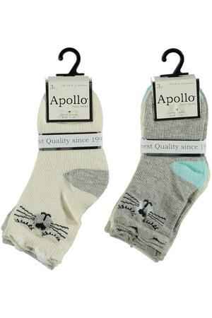 sokken - set van 6 beige/grijs