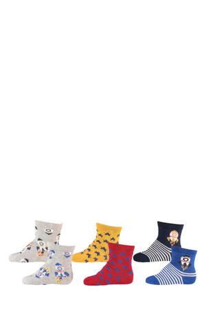 sokken - set van 6 beige/grijs/rood/geel/blauw