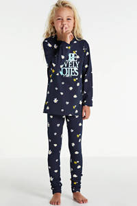 Cars pyjama Lotus met all over print donkerblauw/lichtblauw, Donkerblauw/wit