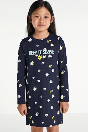 nachthemd Fem met all over print donkerblauw/ecru
