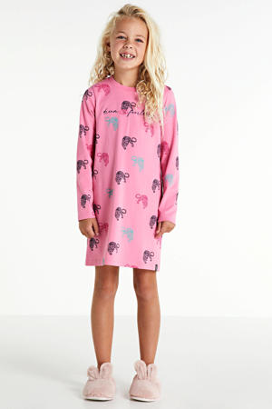 nachthemd Quilia met all over print roze/lichtblauw