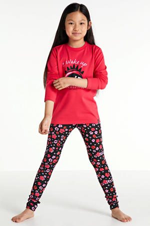 pyjama Dali met bloemen kersenrood/zwart