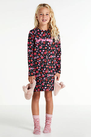 nachthemd Jen met bloemen zwart/kersenrood