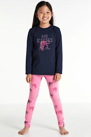 pyjama Isaura met all over print roze/donkerblauw