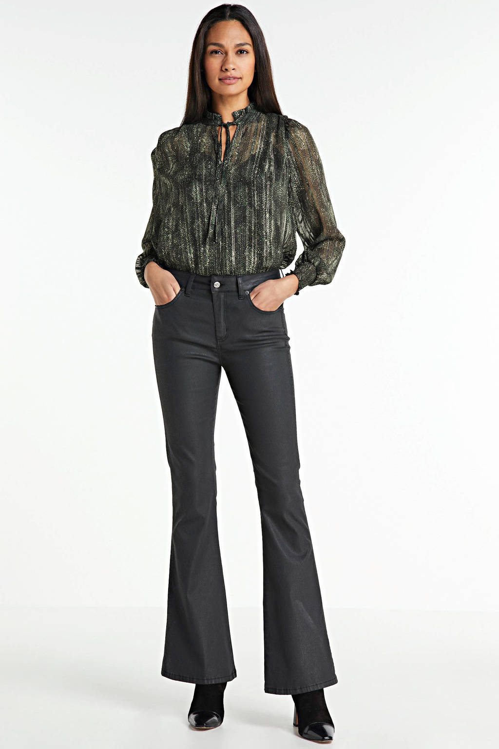 ONLY blouse ONLFEE met all over print en glitters groen, Groen
