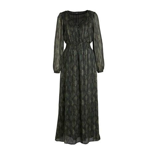 ONLY semi-transparante maxi jurk ONLFEE met all over print groen/zwart