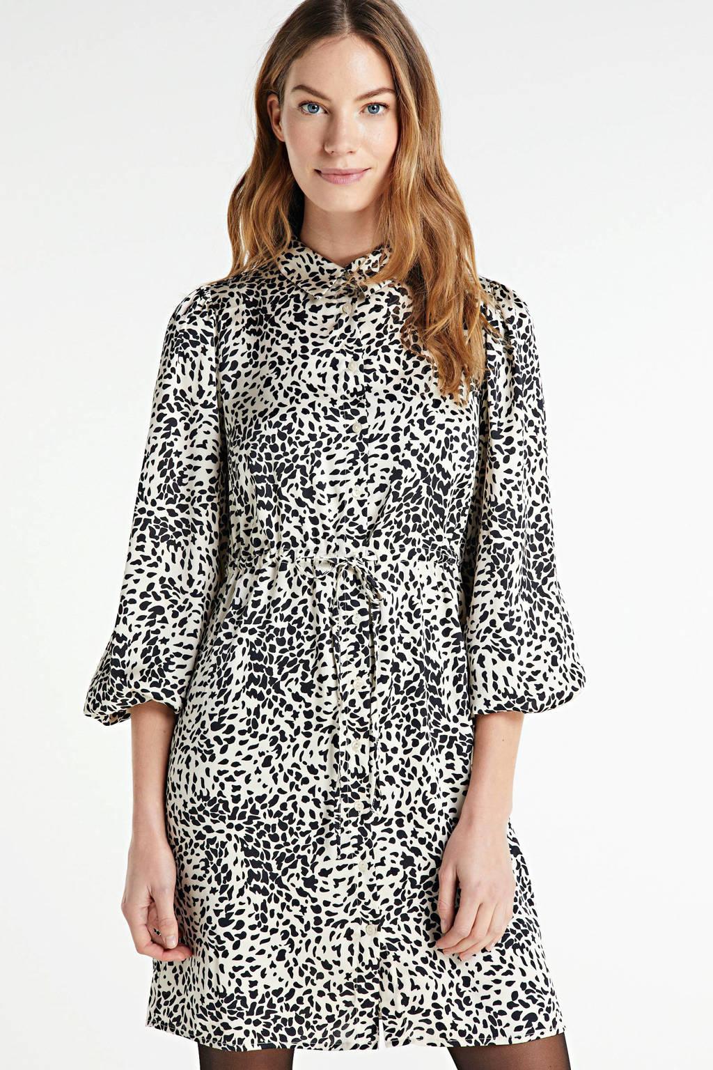 PIECES blousejurk met all over print ecru/zwart, Ecru/zwart