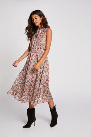 gebloemde semi-transparante jurk beige/fuchsia/wit