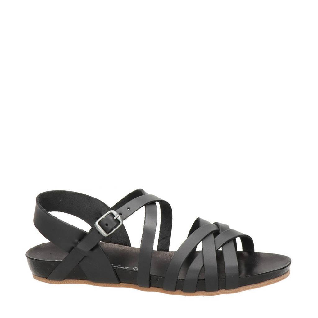 Cosmos   leren sandalen zwart, Zwart