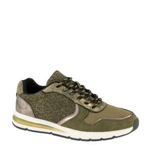 sneakers met panterprint groen