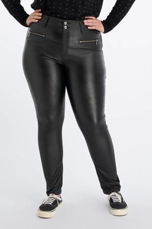 coated high waist skinny broek zwart