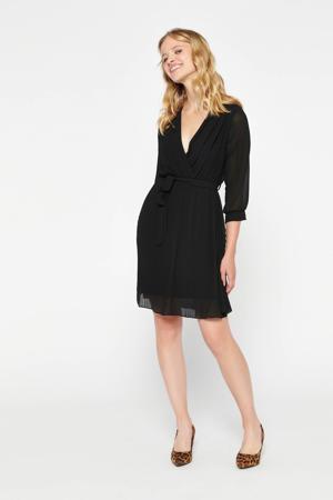 semi-transparante jurk met ceintuur zwart