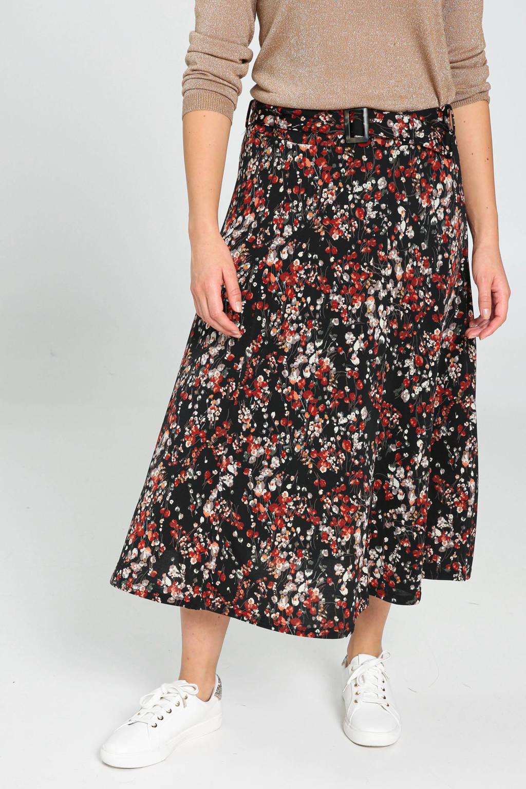 Cassis rok met all over print en ceintuur zwart/rood/grijs, Zwart/rood/grijs