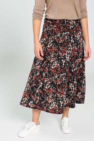 rok met all over print en ceintuur zwart/rood/grijs