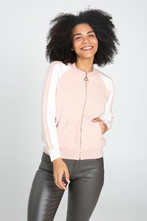 fijngebreid vest met contrastbies en glitters lichtroze/wit/goud