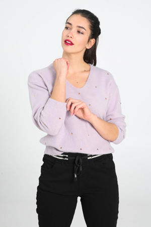 fijngebreide trui met pailletten violet/goud