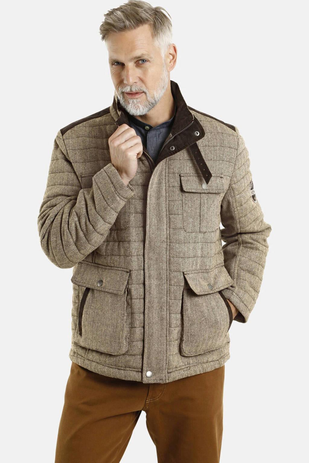 Jan Vanderstorm jas Plus Size Cleas met visgraat bruin, Bruin