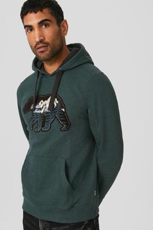 hoodie met printopdruk donkergroen