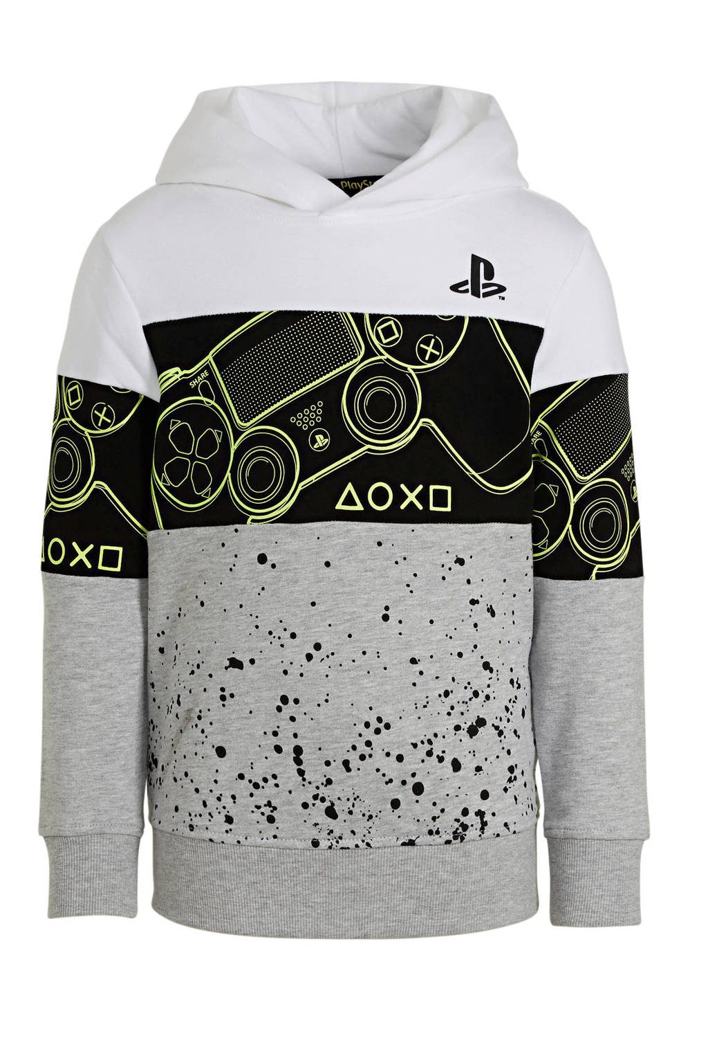 C&A hoodie wit/zwart/geel, Wit/zwart/geel