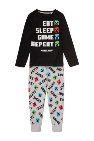 pyjama zwart/grijs melange/rood