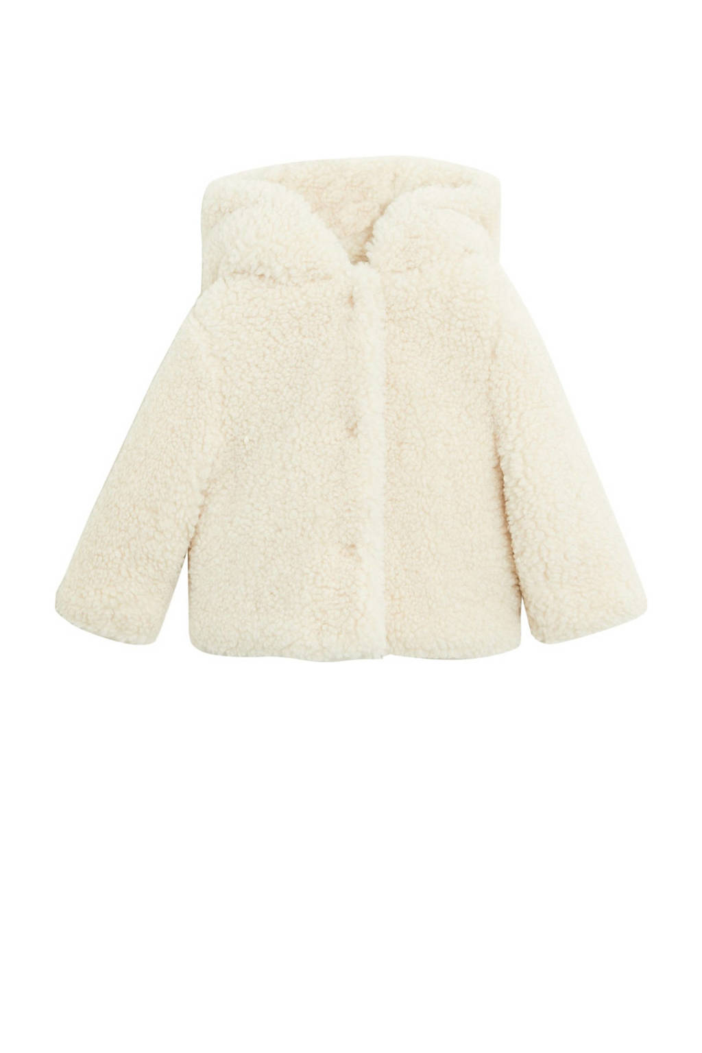 Mango Kids teddy winterjas naturel wit