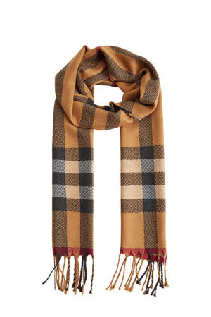 gwtreepte sjaal beige