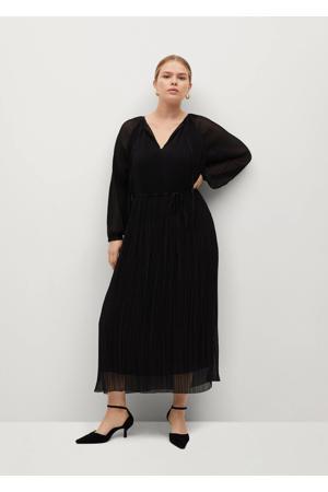 semi-transparante maxi jurk met ceintuur zwart